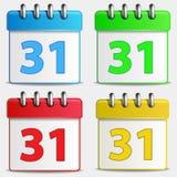 Cuatro iconos coloreados del calendario Fotografía de archivo libre de regalías