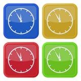 Cuatro iconos cuadrados del color, reloj de última hora Imagenes de archivo