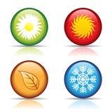 Cuatro iconos de las estaciones Imagenes de archivo