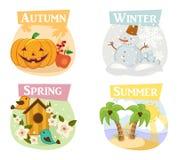 Cuatro iconos planos de las estaciones: invierno, primavera, verano, otoño Fotos de archivo libres de regalías