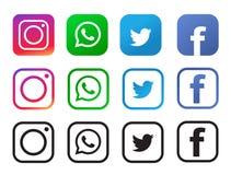Cuatro iconos sociales populares de los medios aislados en el fondo blanco ilustración del vector