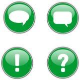 Cuatro iconos verdes del web Imagen de archivo