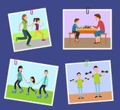 Cuatro imágenes de la familia s fijadas en los clips de papel del color stock de ilustración