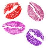Cuatro impresiones de los labios Imágenes de archivo libres de regalías