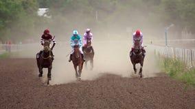 Cuatro jinetes en carreras de caballos Cámara lenta metrajes