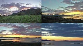 Cuatro lapsos de tiempo de puestas del sol sobre el Atlántico metrajes