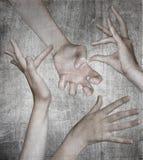 Cuatro manos en fondo gris imagen de archivo libre de regalías