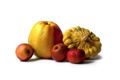 Cuatro manzanas y una pattypan Imágenes de archivo libres de regalías