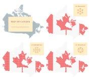 Cuatro mapas canadienses Fotos de archivo libres de regalías
