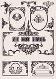 Cuatro marcos blancos y negros del art déco. Imagen de archivo libre de regalías