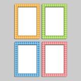 Cuatro marcos de la foto de los niños multicolores en la caja, azul, ora Fotos de archivo libres de regalías