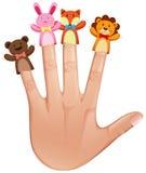 Cuatro marionetas del finger en la mano humana libre illustration