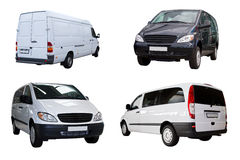 Cuatro mini furgonetas Foto de archivo libre de regalías