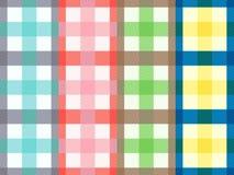 Cuatro modelos inconsútiles rectangulares con las rayas abigarradas stock de ilustración