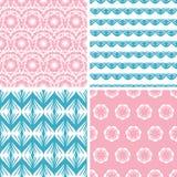 Cuatro motivos populares azules rosados abstractos inconsútiles Foto de archivo libre de regalías