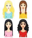 Cuatro muchachas de la animación Imagen de archivo libre de regalías
