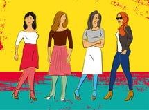 Cuatro muchachas hermosas de la moda Cartel colorido en estilo del grunge Ilustración del vector Fotografía de archivo libre de regalías