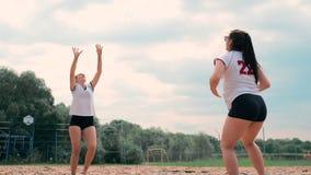 Cuatro muchachas que juegan a voleibol en la playa Voleibol de playa, red, mujeres en bikinis Ejemplo plano de la historieta comi metrajes