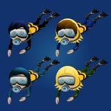 Cuatro muchachos y muchachas del buceador en un fondo azul Imagen de archivo libre de regalías