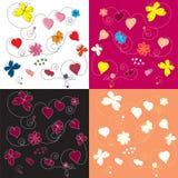 Cuatro muestras de estampados de flores ilustración del vector