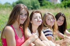 Cuatro mujeres jovenes sonrientes bastante felices que se sientan junto en césped verde Imagen de archivo libre de regalías