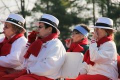 Cuatro mujeres que juegan música mientras que está asentado en la procesión en el desfile de las vacaciones, Glens Falls, Nueva Y Imagen de archivo
