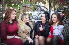 Cuatro mujeres se divierten que hablan cuando se encuentran imagen de archivo