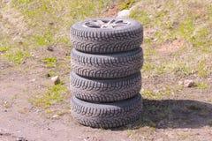 Cuatro neumáticos del invierno Fotografía de archivo