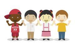 Cuatro niños de diversas razas que celebran las manos y que representan personajes de dibujos animados de la edad de la globaliza ilustración del vector