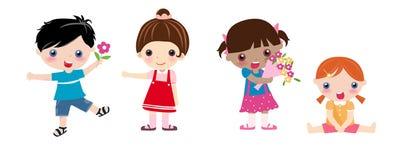 Cuatro niños y flores Imagenes de archivo