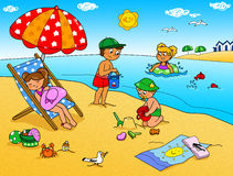 Cuatro niños en la playa Fotos de archivo