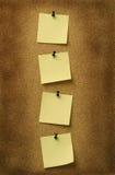 Cuatro notas amarillas Imagen de archivo libre de regalías
