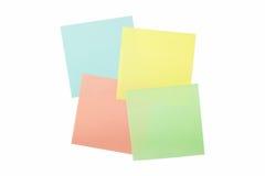 Cuatro notas pegajosas coloreadas Imagen de archivo libre de regalías