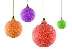 Cuatro ornamentos de la Navidad Imagenes de archivo