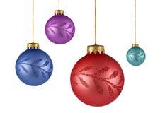 Cuatro ornamentos de la Navidad del árbol Fotografía de archivo