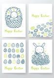 Cuatro páginas felices de la plantilla del diseño de Pascua Imágenes de archivo libres de regalías