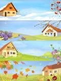 Cuatro paisajes del año de las estaciones stock de ilustración