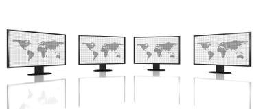 Cuatro pantallas de monitor digitales del hd