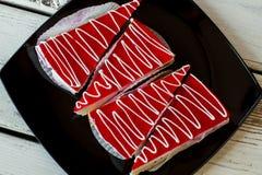 Cuatro pedazos de torta Foto de archivo