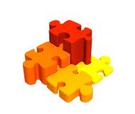 Cuatro pedazos del rompecabezas, combinados por una escala Foto de archivo