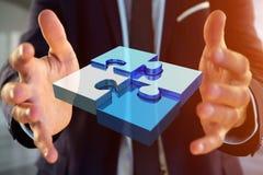 Cuatro pedazos del rompecabezas que hacen un logotipo en un interfaz futurista - 3d imagenes de archivo