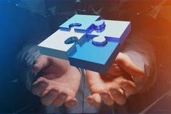 Cuatro pedazos del rompecabezas que hacen un logotipo en un interfaz futurista - 3d fotografía de archivo