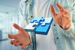 Cuatro pedazos del rompecabezas que hacen un logotipo en un interfaz futurista - 3d ilustración del vector