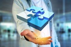 Cuatro pedazos del rompecabezas que hacen un logotipo en un interfaz futurista - 3d fotografía de archivo libre de regalías