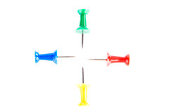 Cuatro pernos de dibujo coloridos. Imagen de archivo libre de regalías