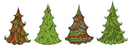 Cuatro piceas aisladas en el fondo blanco libre illustration
