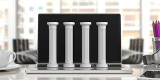 Cuatro pilares clásicos en un ordenador, fondo de la oficina ilustración 3D