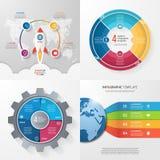 Cuatro plantillas infographic con 4 pasos, opciones, piezas, proceso Imagenes de archivo
