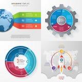 Cuatro plantillas infographic con 3 pasos, opciones, piezas, proceso Imágenes de archivo libres de regalías