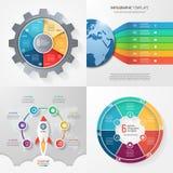 Cuatro plantillas infographic con 6 pasos, opciones, piezas, proceso Foto de archivo libre de regalías